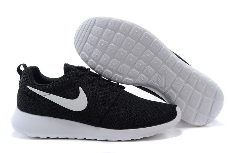 nike roshe run chaussures noir et blanc